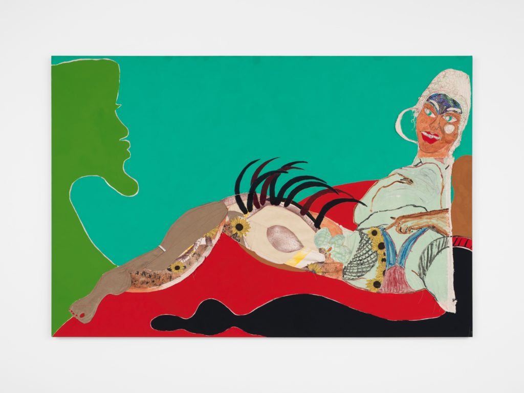 9-[Tschabalala Self] Thigh, 2016 Painted canvas, fabric, oil, acrylic, and flashe on canvas 48 x 72 inches