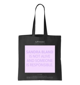 A tote bag featuring artwork by E. Jane