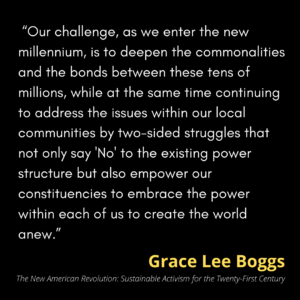 """A quotation by Grace Lee Boggs in which she writes, """"Our challenge, as we enter the new millennium, is to deepen the commonalities and the bonds between these tens of millions, while at the same time continuing to address the issues within our local communities by two-sided struggles that not only say 'No' to the existing power structure but also empower our constituencies to embrace the power within each of us to create the world anew."""""""