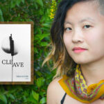 An image of poet Tiana Nobile, a Korean adoptee writer with a sidecut, short hair with blonde tips, and a yellow bandana around her neck. Next to her is the cover of her book, Cleave, which is all white and features a black and white image of a split egg.